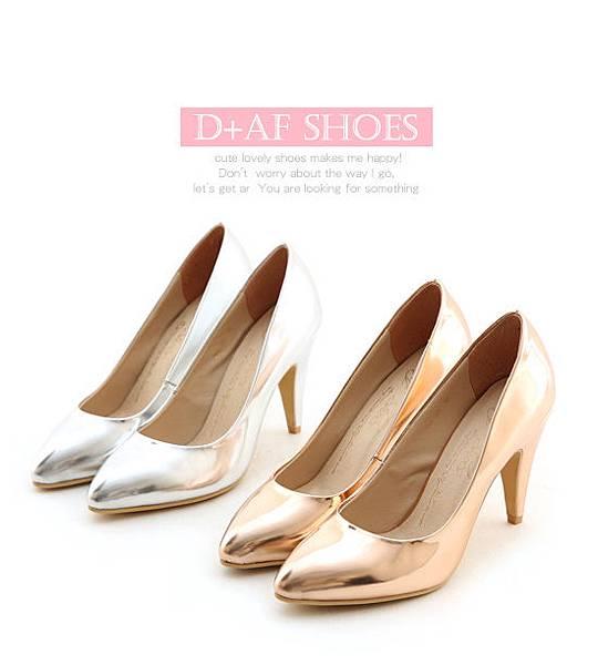 D+af顯瘦金屬美型尖頭高跟鞋-銀色尖頭高跟鞋 (91)