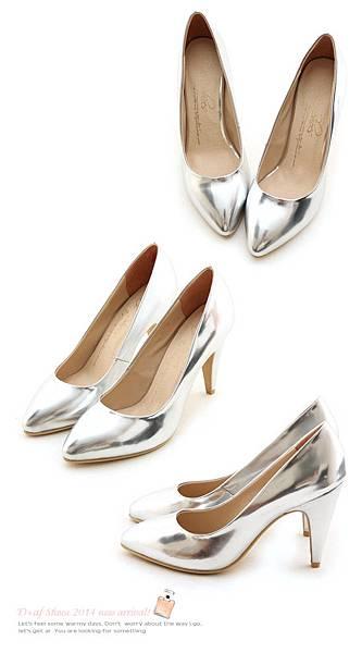 D+af顯瘦金屬美型尖頭高跟鞋-銀色尖頭高跟鞋 (71)