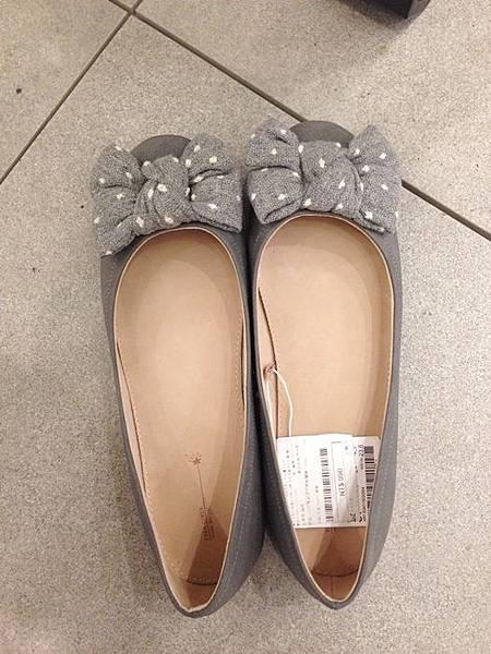 ZARA girl 灰色毛呢圓點點蝴蝶結娃娃鞋 (2)