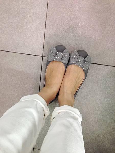 ZARA girl 灰色毛呢圓點點蝴蝶結娃娃鞋 (5)