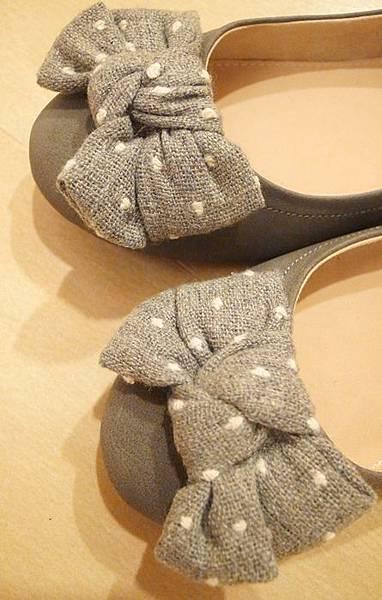 ZARA girl 灰色毛呢圓點點蝴蝶結娃娃鞋 (9)