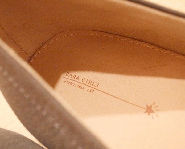 ZARA girl 灰色毛呢圓點點蝴蝶結娃娃鞋 (13)