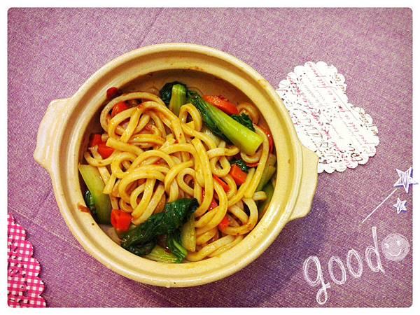辣豆瓣醬拌讚岐烏龍麵 (2)