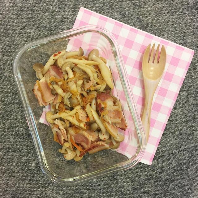 單身小廚房-減肥食譜減肥便當自己煮DIY-泡菜培根鴻喜菇 (6)