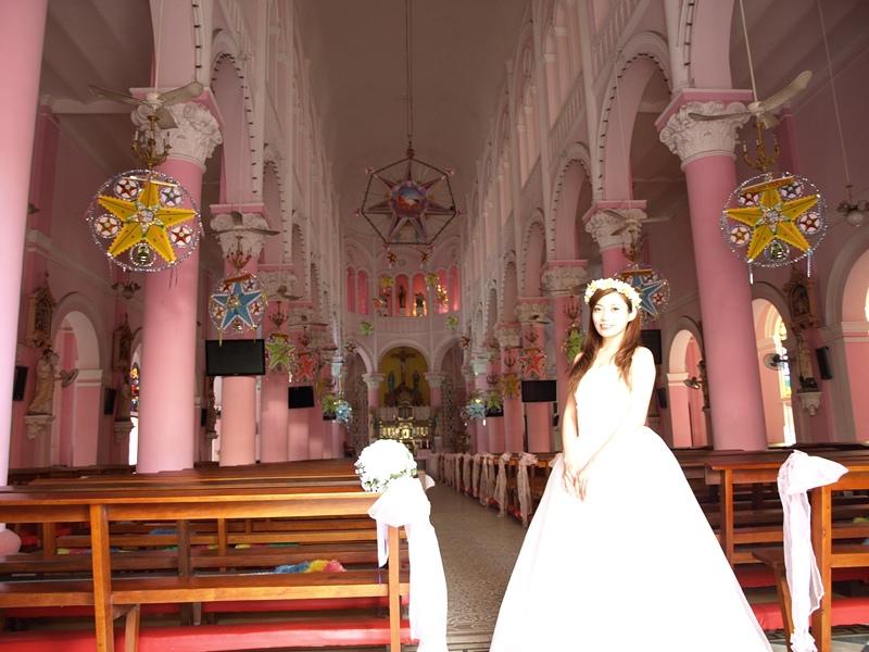 自己拍婚紗-越南自助婚紗-胡志明市粉紅教堂新定教堂西貢耶穌聖心堂拍婚紗-淘寶婚紗 (124)