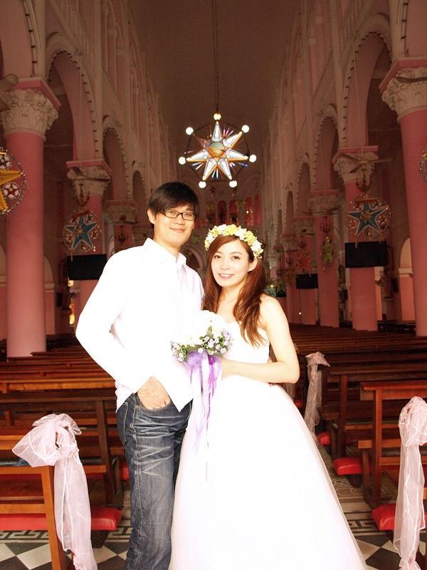 自己拍婚紗-越南自助婚紗-胡志明市粉紅教堂新定教堂西貢耶穌聖心堂拍婚紗-淘寶婚紗 (116)