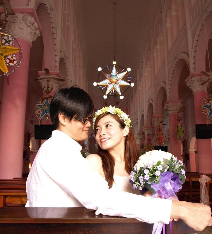 自己拍婚紗-越南自助婚紗-胡志明市粉紅教堂新定教堂西貢耶穌聖心堂拍婚紗-淘寶婚紗 (115)