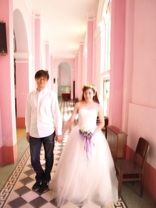 自己拍婚紗-越南自助婚紗-胡志明市粉紅教堂新定教堂西貢耶穌聖心堂拍婚紗-淘寶婚紗 (133)