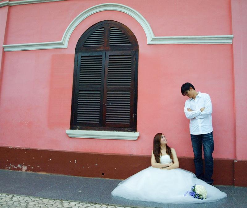 自己拍婚紗-越南自助婚紗-胡志明市粉紅教堂新定教堂西貢耶穌聖心堂拍婚紗-淘寶婚紗 (142)