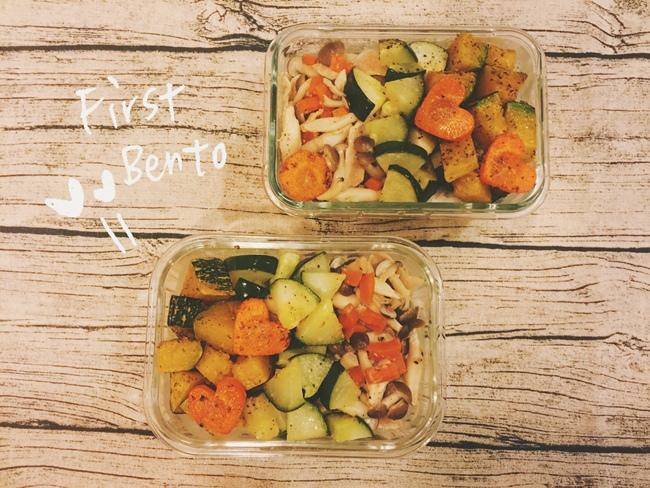 愛妻便當-烤蔬菜-鴻喜菇炒松板豬 (1)