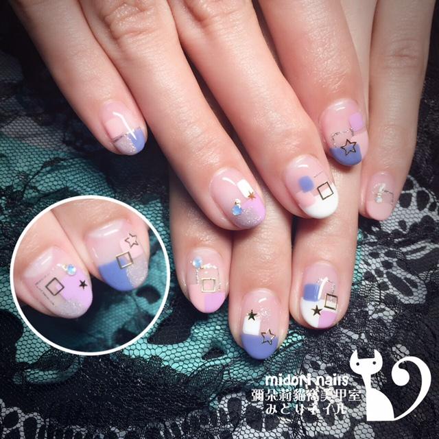 Midori nail 彌朵莉貓窩美甲室-光療美甲台北光療信義安和站-幾何光療凝膠指甲(98)