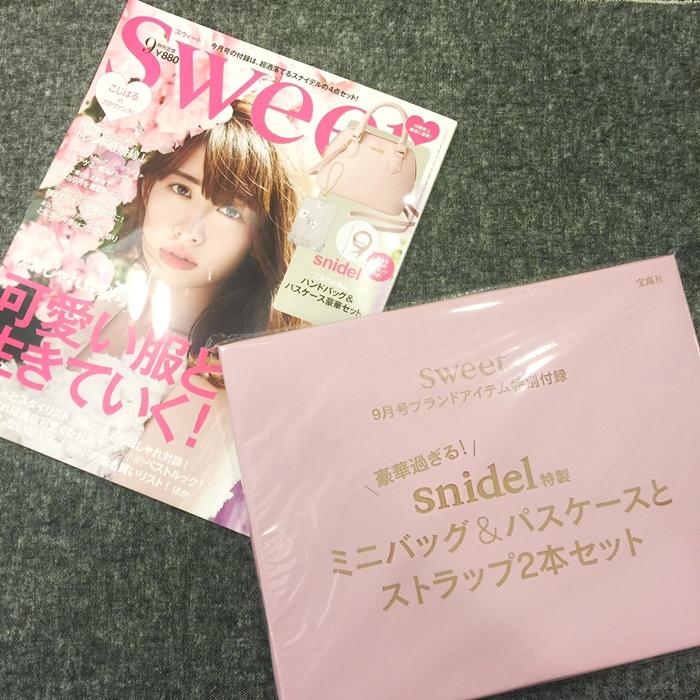 日雜贈品-Sweet 2016年9月號-snidel粉紅色手提肩背兩用小包+票卡夾 (13)