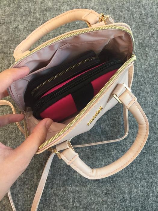日雜贈品-Sweet 2016年9月號-snidel粉紅色手提肩背兩用小包+票卡夾 (8)