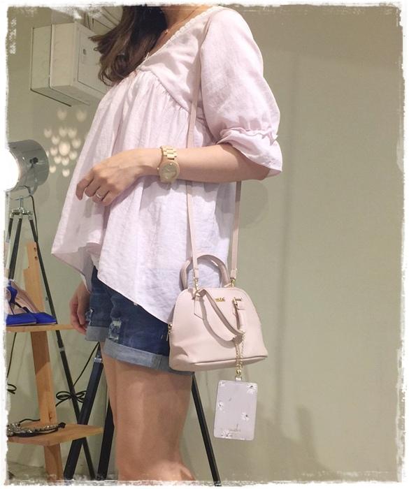 日雜贈品-Sweet 2016年9月號-snidel粉紅色手提肩背兩用小包+票卡夾 (18)