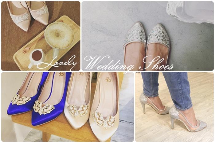 wedding shoes 婚鞋-訂婚鞋-設計師款-red velvet-華麗寶石平底鞋-低跟鞋 (1111)