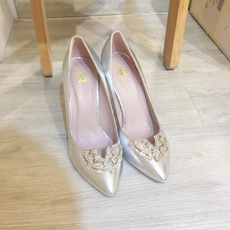 wedding shoes 婚鞋-訂婚鞋-設計師款-red velvet-華麗寶石平底鞋-低跟鞋 (14)
