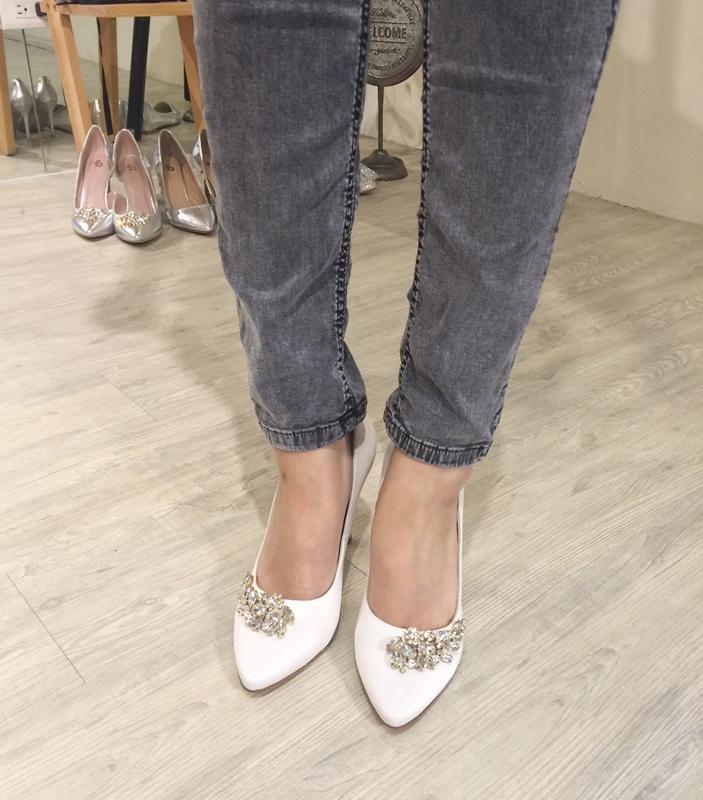 wedding shoes 婚鞋-訂婚鞋-設計師款-red velvet-華麗寶石平底鞋-低跟鞋 (2)