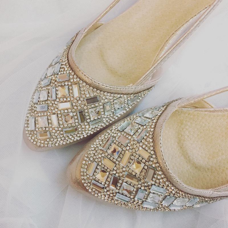 wedding shoes 婚鞋-訂婚鞋-設計師款-red velvet-華麗寶石平底鞋-低跟鞋 (37)