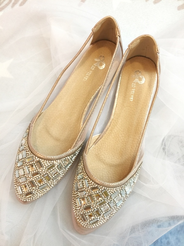 wedding shoes 婚鞋-訂婚鞋-設計師款-red velvet-華麗寶石平底鞋-低跟鞋 (30)