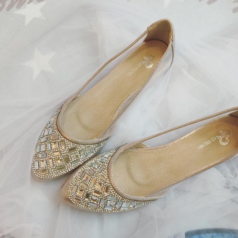 wedding shoes 婚鞋-訂婚鞋-設計師款-red velvet-華麗寶石平底鞋-低跟鞋 (1)
