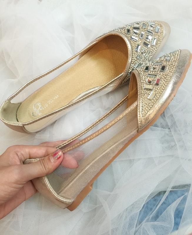 wedding shoes 婚鞋-訂婚鞋-設計師款-red velvet-華麗寶石平底鞋-低跟鞋 (36)