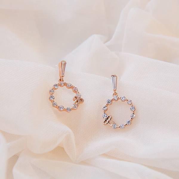 Mrs Yue 夾式耳環-垂墜式耳環-不過敏耳環-氣質施華洛世奇鑽耳環 (991)