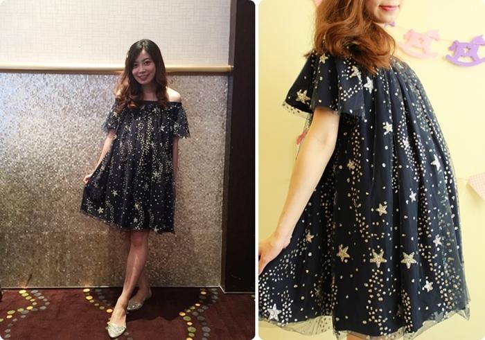 淘寶孕婦裝-孕婦穿搭-星星一字領露肩短洋裝-星空亮片紗質洋裝 (91)
