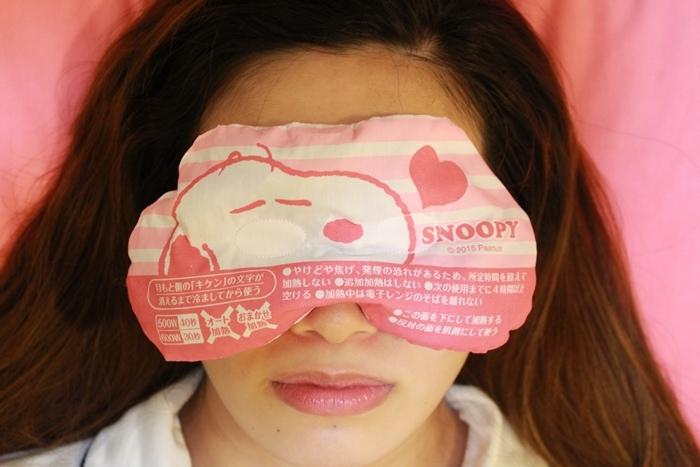 日本藥妝-snoopy可重複使用的蒸氣眼罩-發熱眼罩-微波爐加熱眼罩-紅豆眼罩 (6)