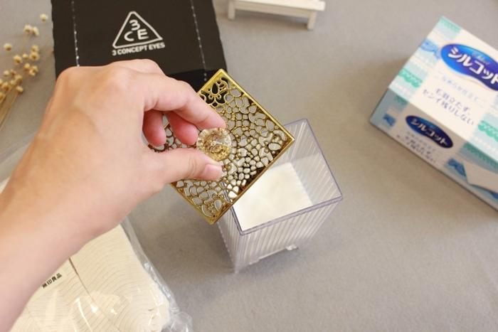 韓國3CE濕敷用多功能用途化妝棉 cotton puff-日本3coins買的華麗化妝棉收納盒 (33)