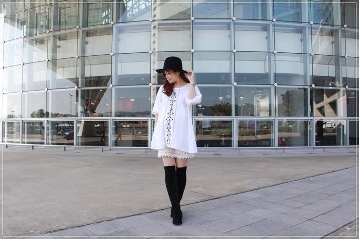 孕婦穿搭-孕婦裝穿搭-淘寶孕婦裝-Uniqlo黑帽-過膝長靴 (43)