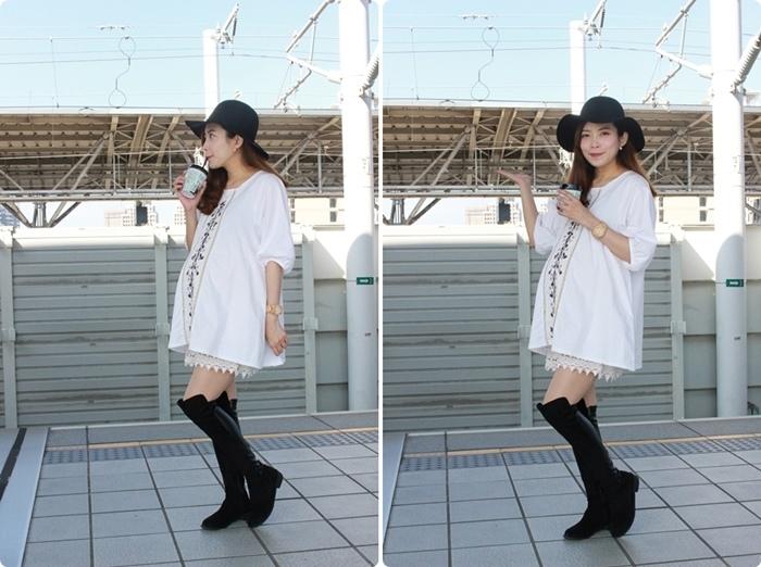 孕婦穿搭-孕婦裝穿搭-淘寶孕婦裝-Uniqlo黑帽-過膝長靴 (411)