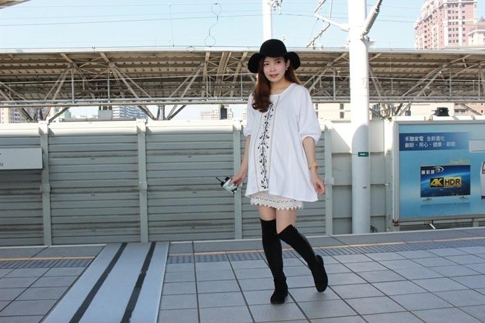 孕婦穿搭-孕婦裝穿搭-淘寶孕婦裝-Uniqlo黑帽-過膝長靴 (18)