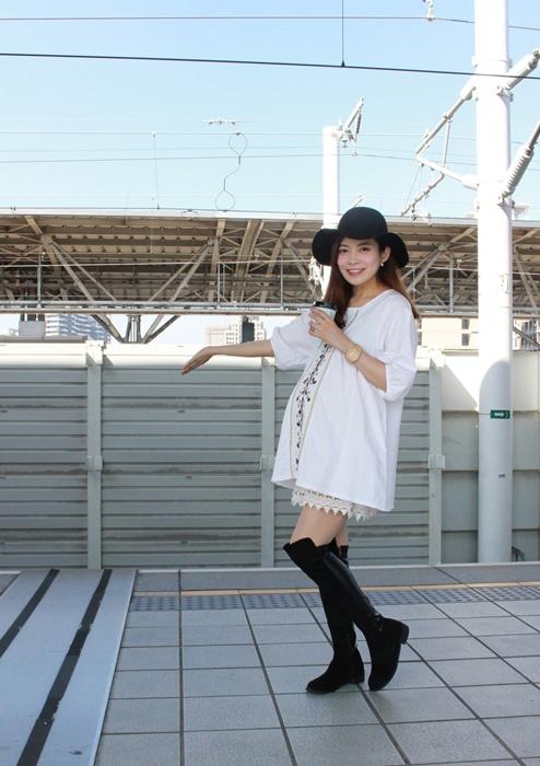 孕婦穿搭-孕婦裝穿搭-淘寶孕婦裝-Uniqlo黑帽-過膝長靴 (21)