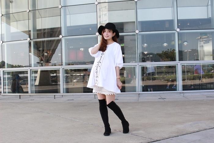 孕婦穿搭-孕婦裝穿搭-淘寶孕婦裝-Uniqlo黑帽-過膝長靴 (40)