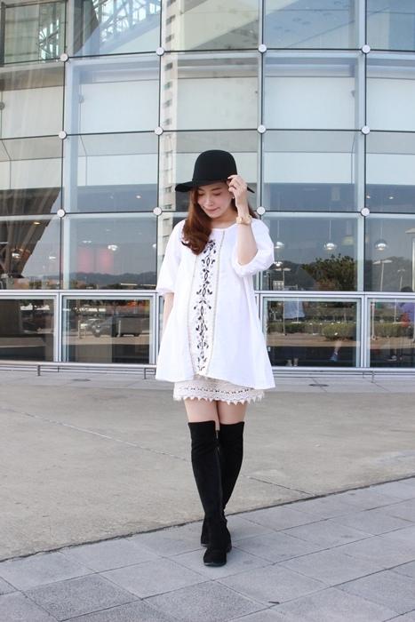 孕婦穿搭-孕婦裝穿搭-淘寶孕婦裝-Uniqlo黑帽-過膝長靴 (42)