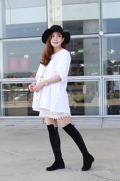 孕婦穿搭-孕婦裝穿搭-淘寶孕婦裝-Uniqlo黑帽-過膝長靴 (30)
