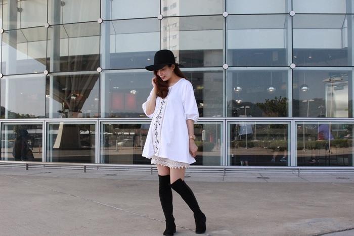 孕婦穿搭-孕婦裝穿搭-淘寶孕婦裝-Uniqlo黑帽-過膝長靴 (41)