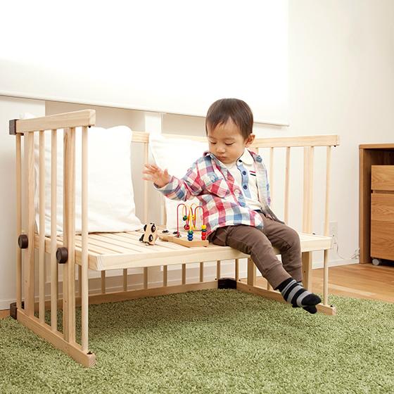 färska-日本farska嬰兒床-Bed side bed-親子共寢多功能嬰兒床-無印良品風日系風嬰兒床原木色系-透氣好眠可攜式床墊組-COMPACT BED (5911)