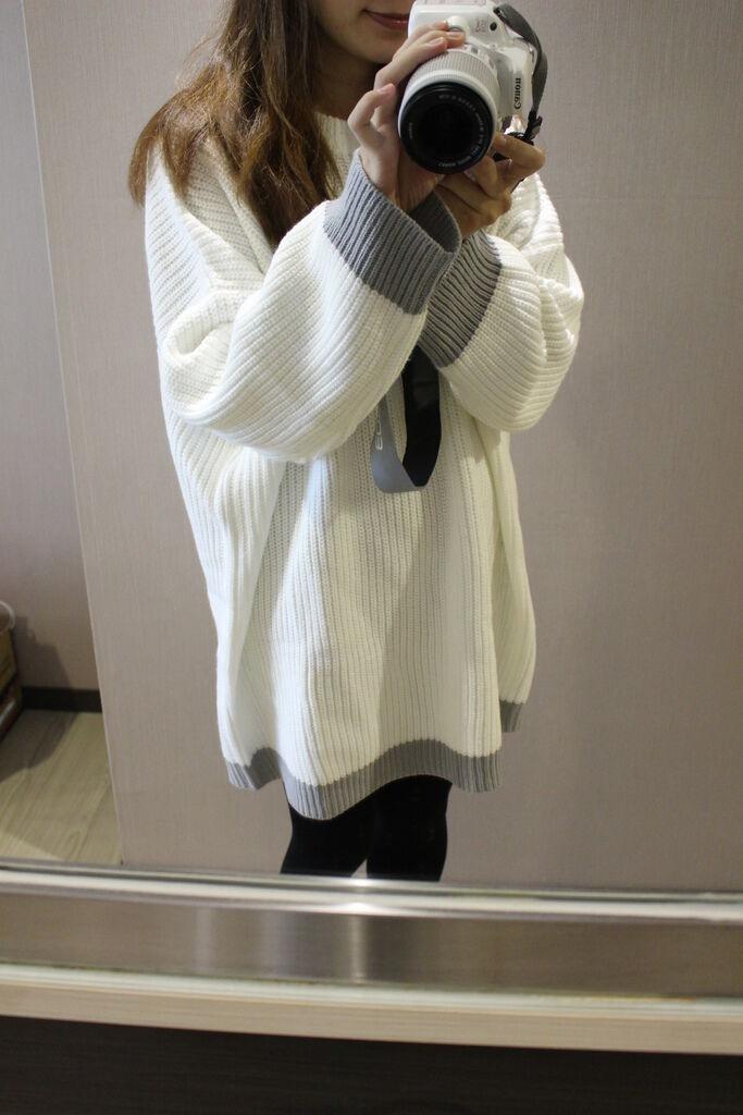 淘寶穿搭-毛衣-淘寶女裝GG House郭郭定制-毛衣裙寬鬆毛衣荷葉袖毛衣外套 (7)