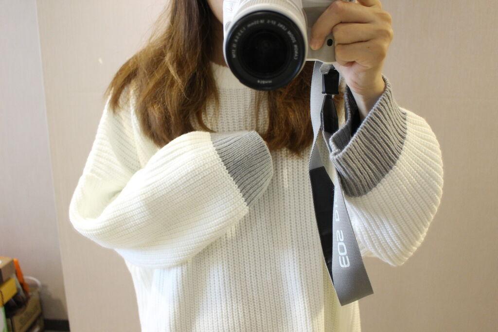 淘寶穿搭-毛衣-淘寶女裝GG House郭郭定制-毛衣裙寬鬆毛衣荷葉袖毛衣外套 (8)