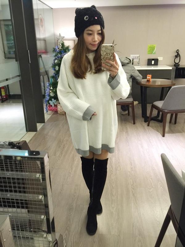 淘寶穿搭-毛衣-淘寶女裝GG House郭郭定制-毛衣裙寬鬆毛衣荷葉袖毛衣外套 (24)