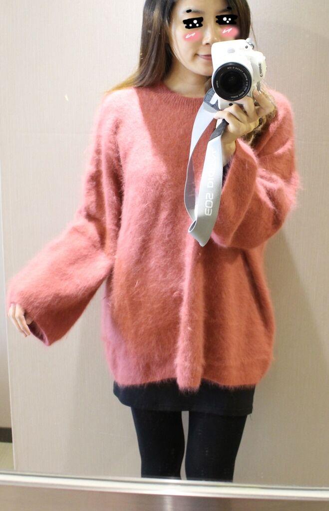 淘寶穿搭-毛衣-淘寶女裝GG House郭郭定制-毛衣裙寬鬆毛衣荷葉袖毛衣外套 (9)