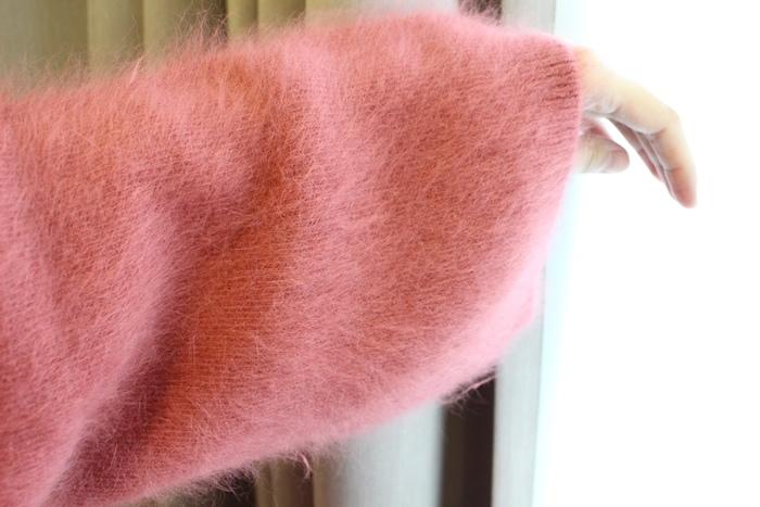 淘寶穿搭-毛衣-淘寶女裝GG House郭郭定制-毛衣裙寬鬆毛衣荷葉袖毛衣外套 (11)