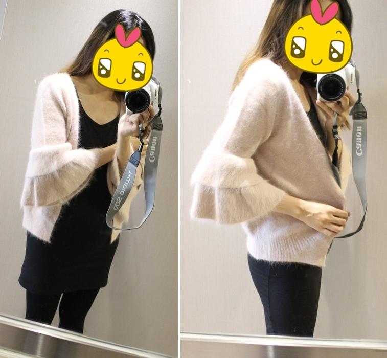 淘寶穿搭-毛衣-淘寶女裝GG House郭郭定制-毛衣裙寬鬆毛衣荷葉袖毛衣外套 (2)