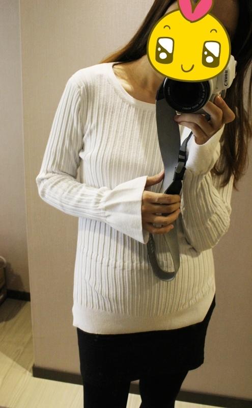 淘寶穿搭-毛衣-淘寶女裝GG House郭郭定制-毛衣裙寬鬆毛衣荷葉袖毛衣外套 (17)