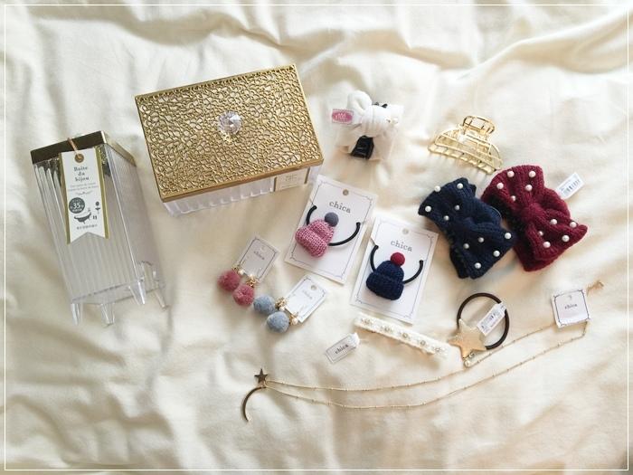 日本戰利品-百元首飾-chica-3 coins-百元商店三百元均一價-便宜質感首飾髮飾耳環項鍊珠寶盒-日本必逛 (12)