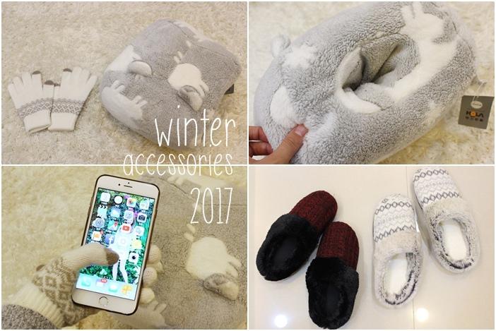冬日暖暖小物-HOLA手插枕-costco毛毛記憶拖鞋-Daiso大創可觸控手機毛手套 (111)