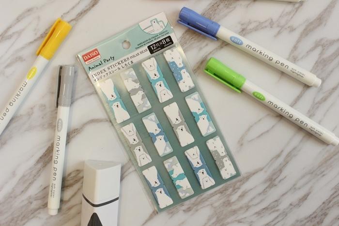 大創文具-Daiso-文青螢光筆-三角形口紅膠-手帳圓點貼紙-北極熊索引貼-黑板膠-三色粉筆 (4)
