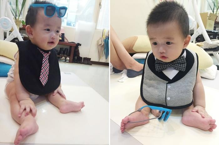 美國Frenchie MINI COUTURE 小紳士領帶圍兜 領結圍兜 口水巾 男寶寶拍照必備(276234)