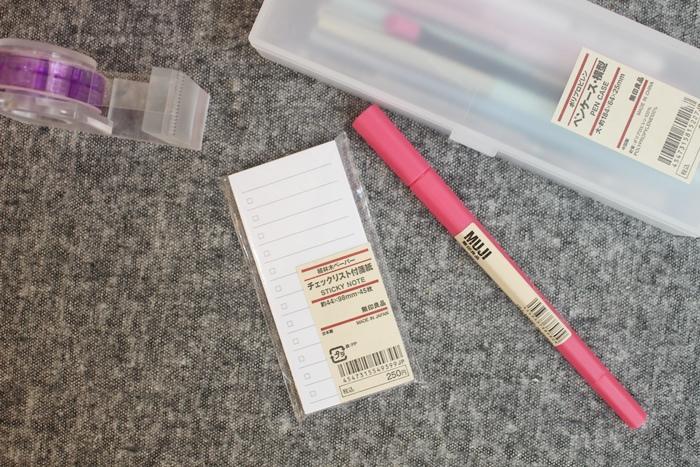 無印良品 MUJI 文具 推薦 蒐集 膠帶台 膠墨筆 PP鉛筆盒 備忘錄 to fo list 雙頭色筆 (42)